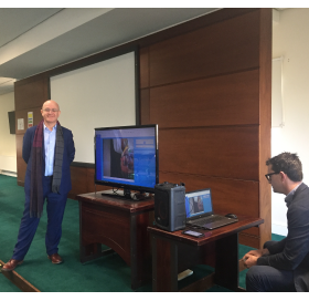 Donal Morris, CEO RedZinc demonstrating BlueEye Handsfree